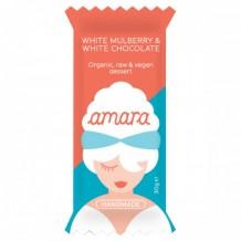 30 гр. Био суров веган десерт Amara с бели черници и бял шоколад