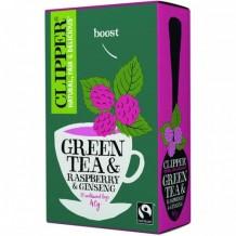 Био зелен чай женшен и аромат малина CLIPPER TEAS (20 бр. x 2 гр.)