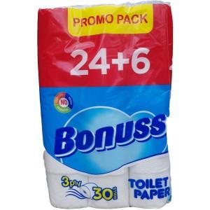 24+6 броя Тоалетна хартия Bonus